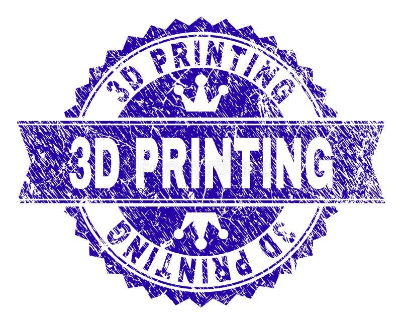 Grunge Textured 3D druku znaczka fokę z faborkiem ilustracji