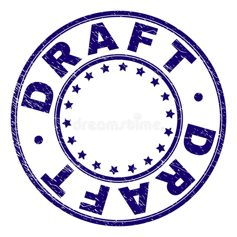 Grunge Textured DRAFT Round Stamp Seal royalty free illustration