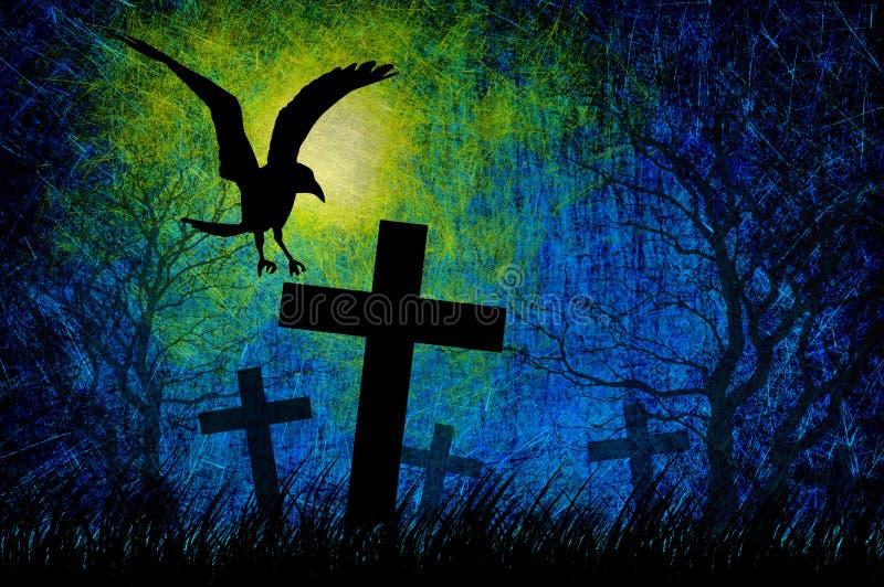 Grunge textured el fondo de la noche de Víspera de Todos los Santos ilustración del vector