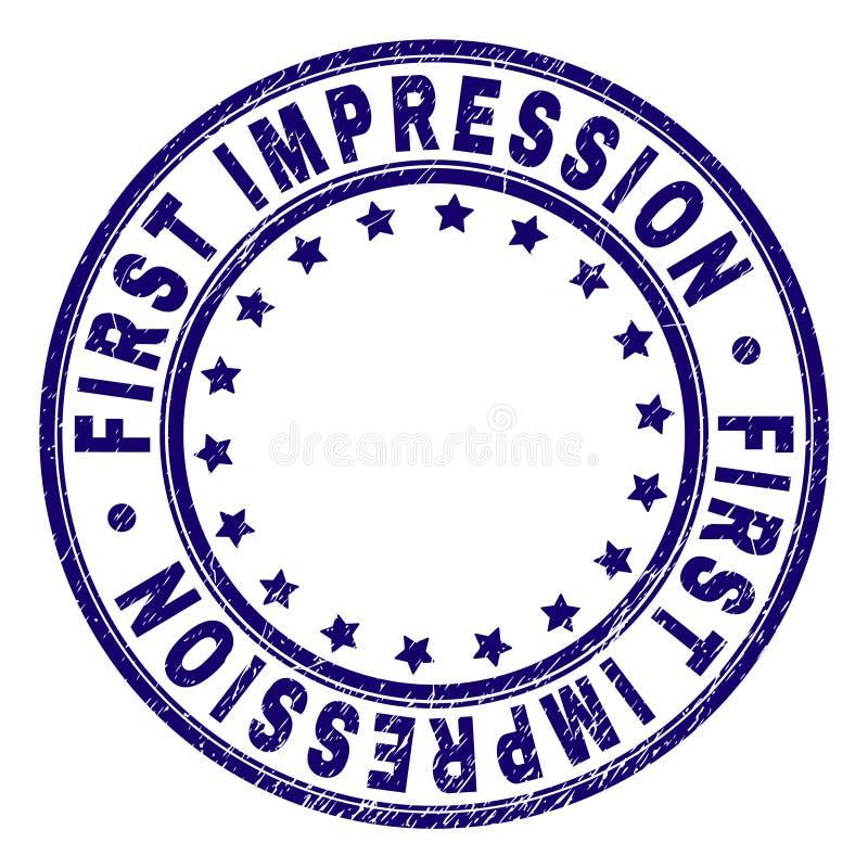 Grunge Textured FIRST IMPRESSION Round Stamp Seal stock illustration