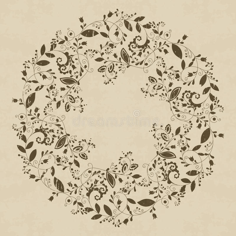 Grunge textured floral frame in doodle style. On textured background. Elegant hand drawn flourish border or frame for greeting card, postcard, invitation stock illustration