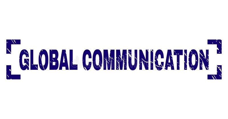 Grunge Textured GLOBALNEJ komunikacji znaczka foka Między kątami ilustracji