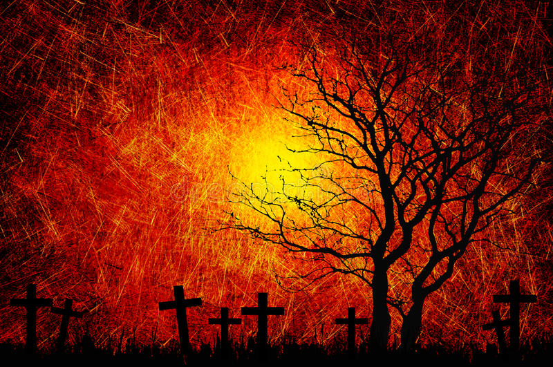 Grunge textured Halloween night background royalty free illustration