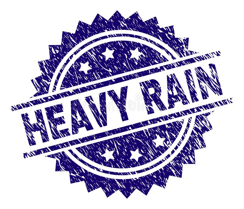 Grunge Textured HEAVY RAIN znaczka foka royalty ilustracja