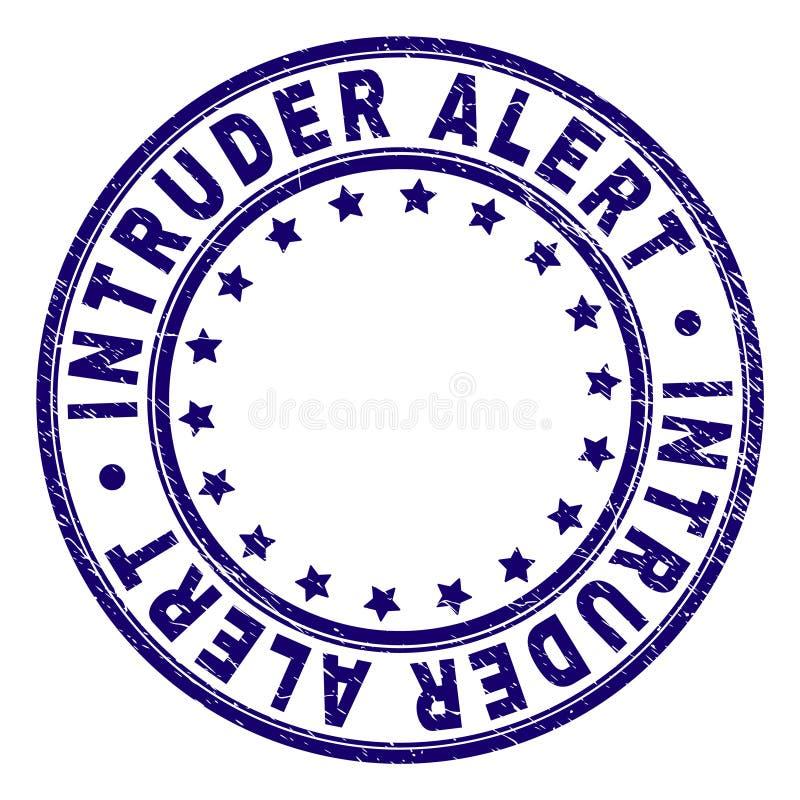 Grunge Textured intruza ostrzeżenia Round znaczka foka ilustracji