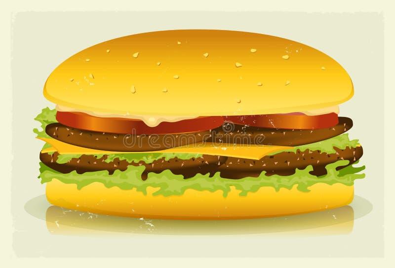 Download Grunge Textured Long Burger Poster Stock Vector - Image: 29024821