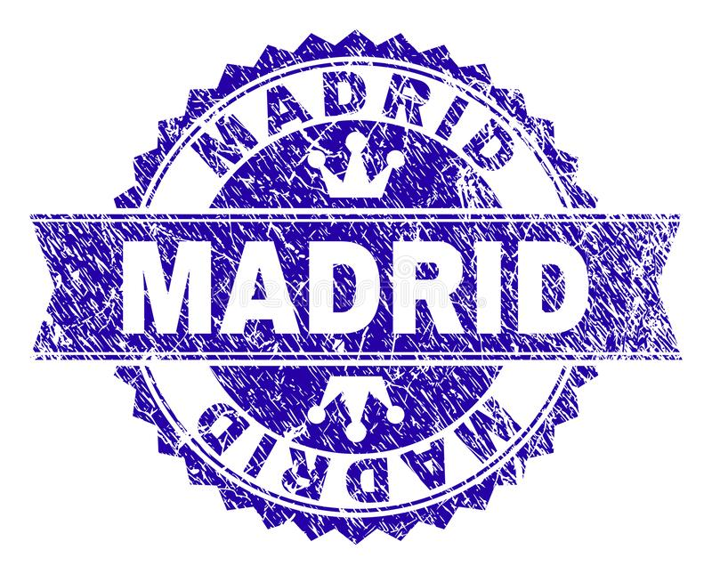 Grunge Textured MADRID Stamp Seal with Ribbon. MADRID rosette stamp seal overlay with grunge style. Designed with round rosette, ribbon and small crowns. Blue stock illustration