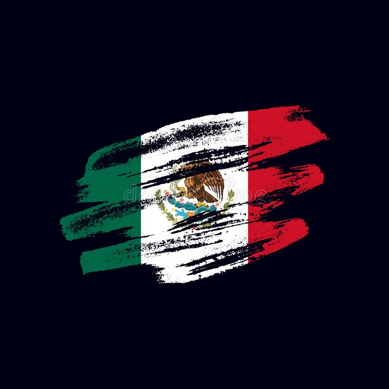 Grunge textured Mexican flag vector illustration