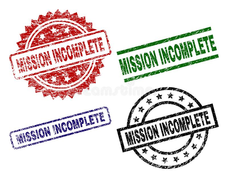 Grunge Textured MISSION INCOMPLETE Stamp Seals. MISSION INCOMPLETE seal prints with damaged texture. Black, green,red,blue vector rubber prints of MISSION royalty free illustration