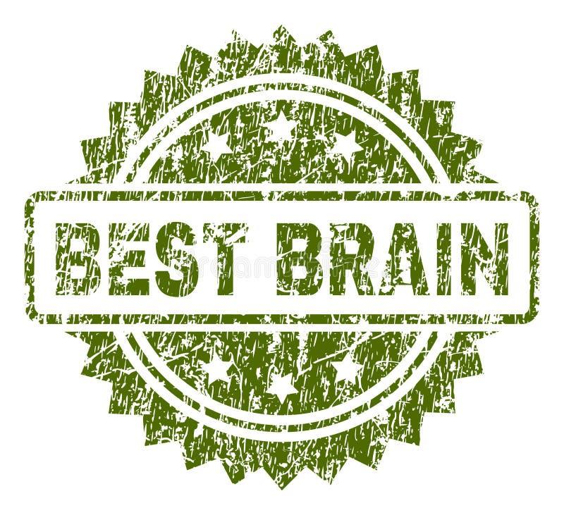 Grunge Textured NAJLEPSZY mózg znaczka fokę royalty ilustracja