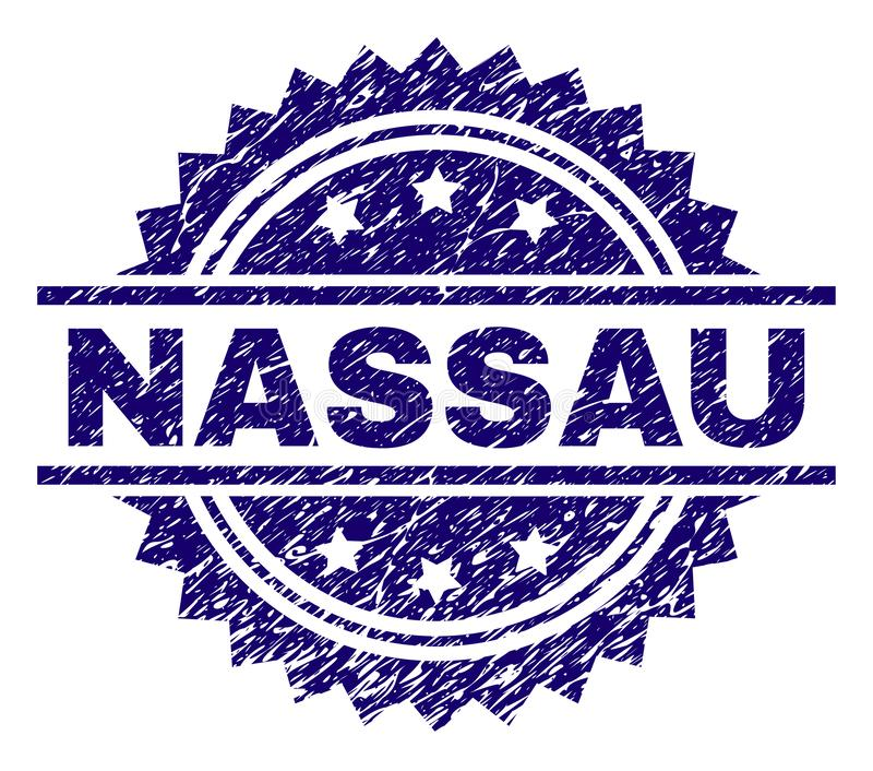 Grunge Textured NASSAU Stamp Seal. NASSAU stamp seal watermark with distress style. Blue vector rubber print of NASSAU tag with unclean texture stock illustration