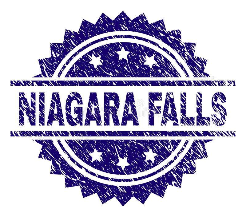 Grunge Textured NIAGARA FALLS Stamp Seal. NIAGARA FALLS stamp seal watermark with distress style. Blue vector rubber print of NIAGARA FALLS title with corroded stock illustration