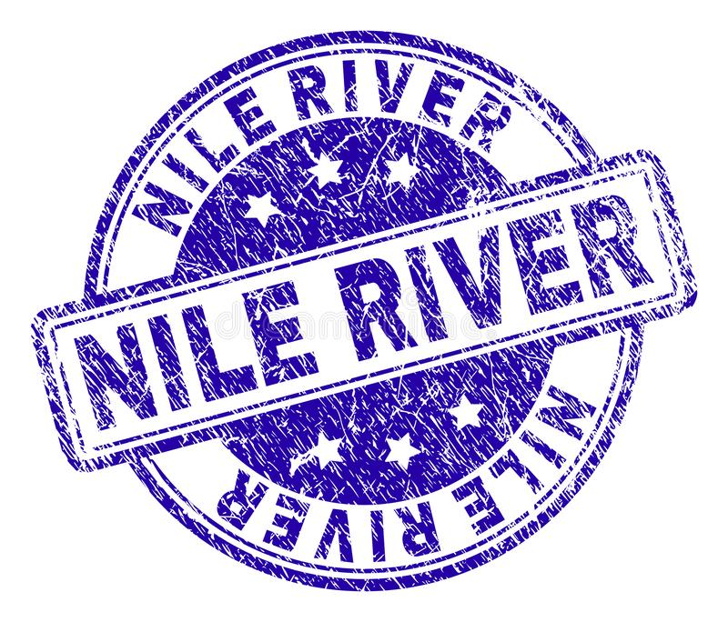 Grunge Textured NILE RIVER Stamp Seal. NILE RIVER stamp seal watermark with grunge texture. Designed with rounded rectangles and circles. Blue vector rubber stock illustration