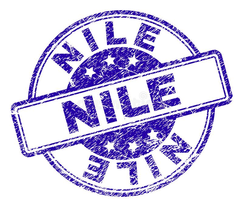 Grunge Textured NILE Stamp Seal. NILE stamp seal imprint with grunge texture. Designed with rounded rectangles and circles. Blue vector rubber print of NILE royalty free illustration