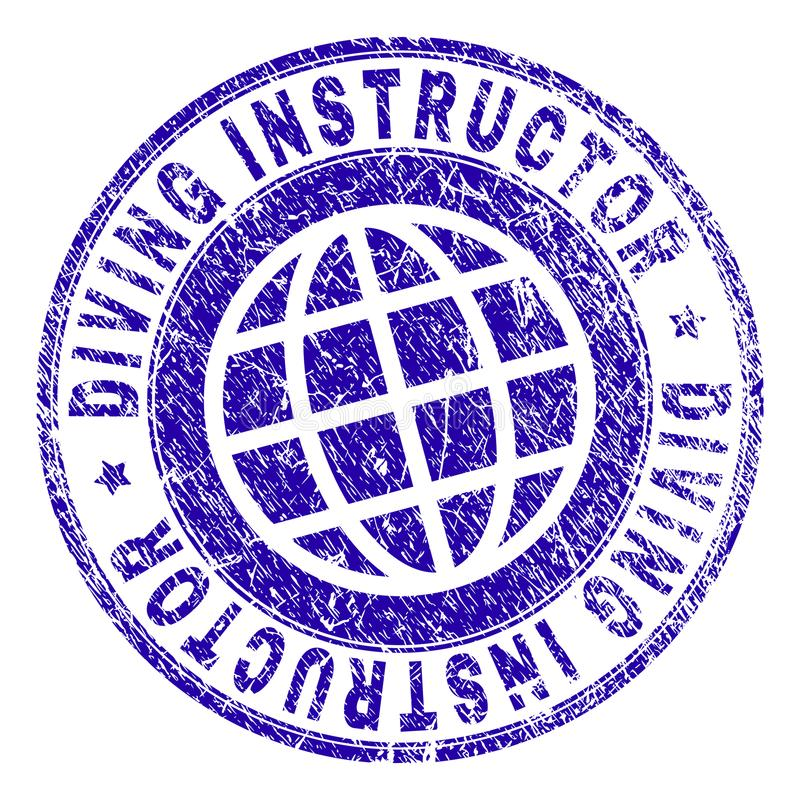 Grunge Textured NURKOWĄ instruktora znaczka fokę ilustracji