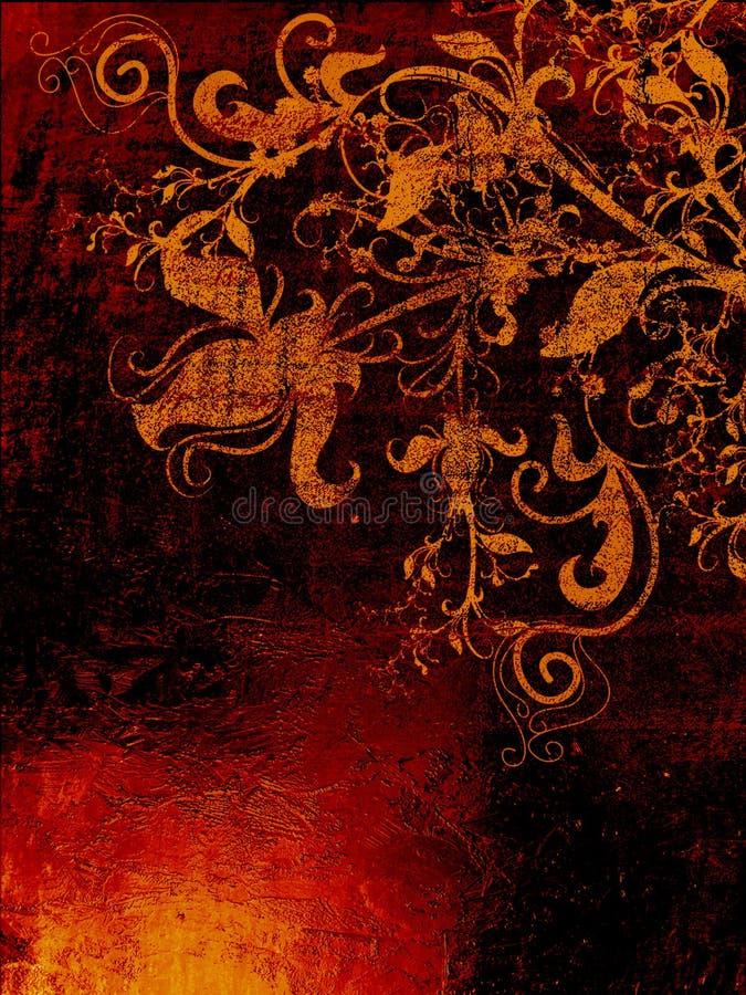 Grunge textured o contexto com elementos florais ilustração do vetor
