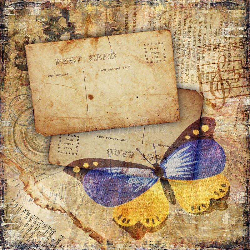 Grunge Textured o fundo com borboleta ilustração stock