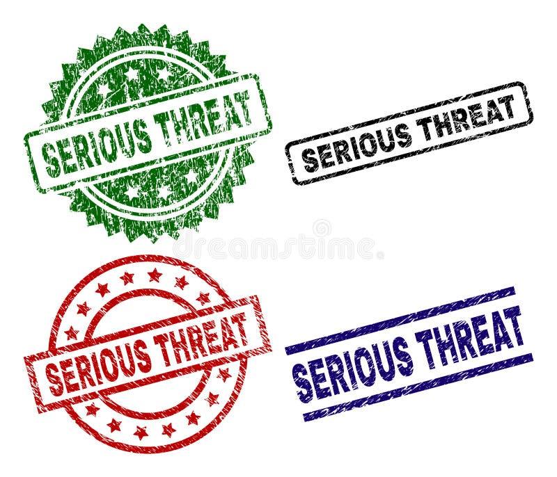 Grunge Textured poważnej groźby foki znaczki ilustracja wektor