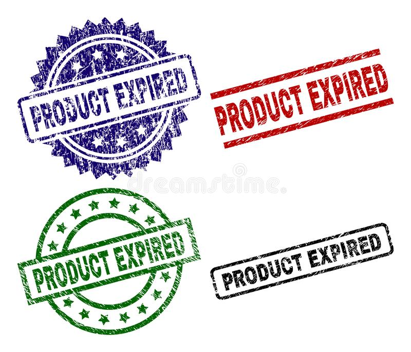 Grunge Textured PRODUCT EXPIRED Seal Stamps vector illustration