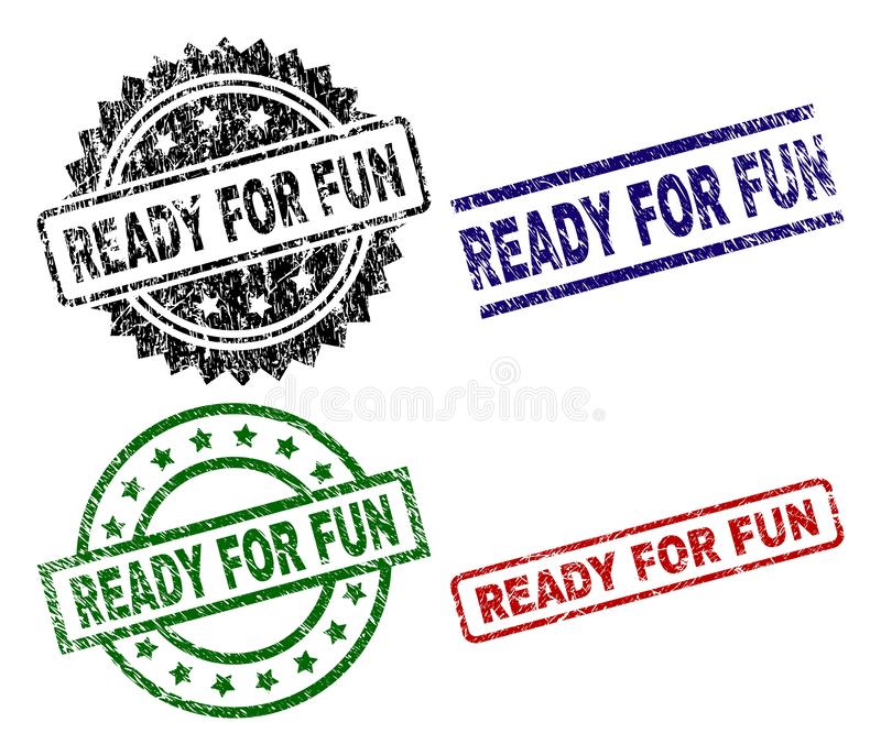 Grunge Textured READY FOR FUN Seal Stamps. READY FOR FUN seal prints with corroded texture. Black, green,red,blue vector rubber prints of READY FOR FUN label royalty free illustration