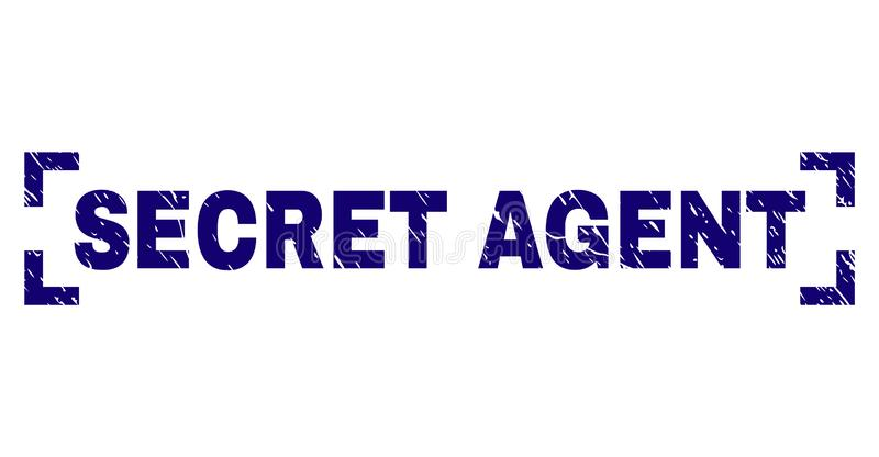 Grunge Textured SECRET AGENT Stamp Seal Between Corners. SECRET AGENT caption seal print with grunge effect. Text caption is placed between corners. Blue vector vector illustration