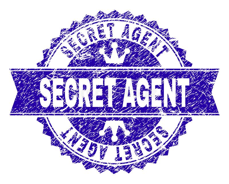 Grunge Textured SECRET AGENT Stamp Seal with Ribbon. SECRET AGENT rosette stamp seal imprint with distress texture. Designed with round rosette, ribbon and small vector illustration