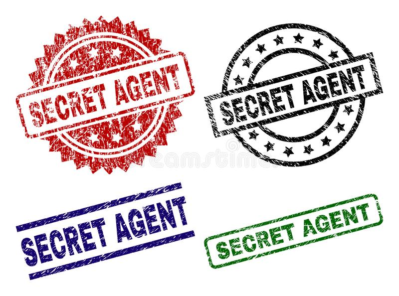 Grunge Textured SECRET AGENT Stamp Seals. SECRET AGENT seal stamps with distress style. Black, green,red,blue vector rubber prints of SECRET AGENT text with stock illustration