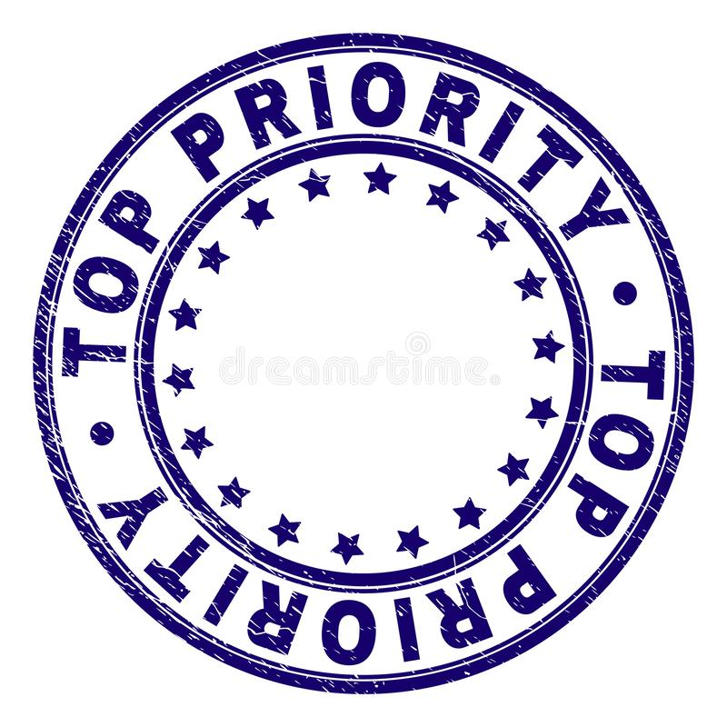 Grunge Textured TOP PRIORITY Round Stamp Seal vector illustration