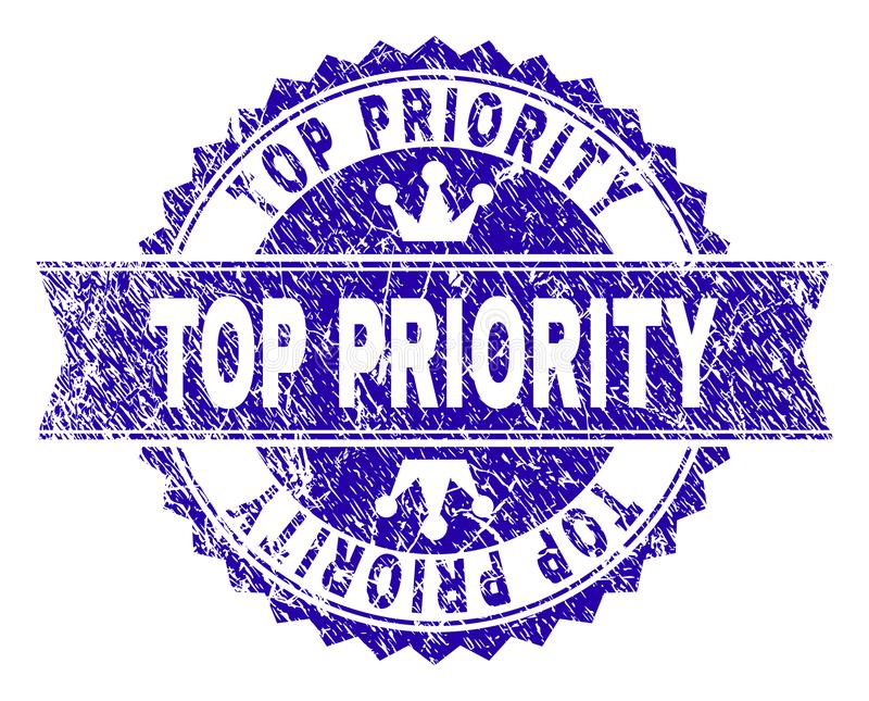 Grunge Textured TOP PRIORITY Stamp Seal with Ribbon vector illustration