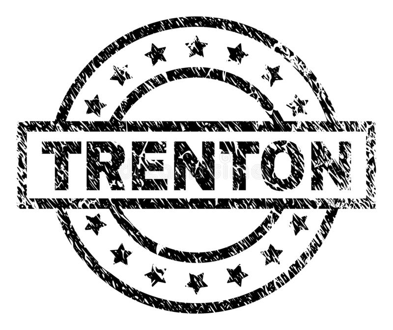 Grunge Textured TRENTON Stamp Seal. TRENTON stamp seal watermark with distress style. Designed with rectangle, circles and stars. Black vector rubber print of vector illustration