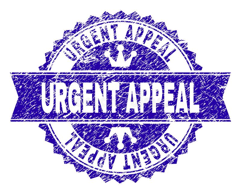 Grunge Textured URGENT APPEAL Stamp Seal with Ribbon. URGENT APPEAL rosette stamp seal watermark with grunge texture. Designed with round rosette, ribbon and vector illustration