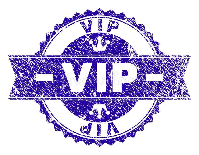 Grunge Textured VIP znaczka foka z faborkiem ilustracja wektor