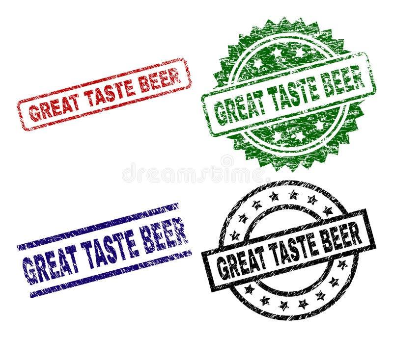 Grunge Textured WIELKIE smaku piwa znaczka foki ilustracji