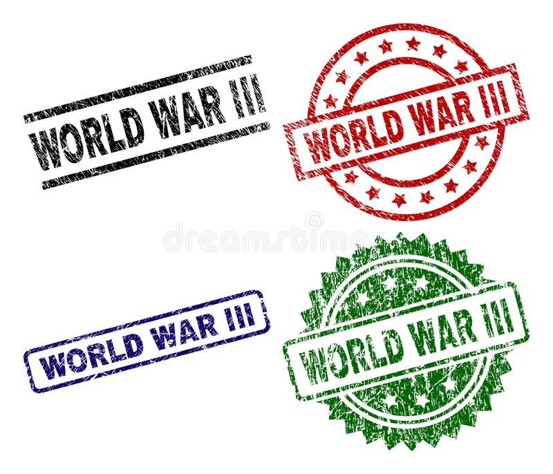 Grunge Textured WORLD WAR III Seal Stamps. WORLD WAR III seal stamps with damaged style. Black, green,red,blue vector rubber prints of WORLD WAR III tag with stock illustration