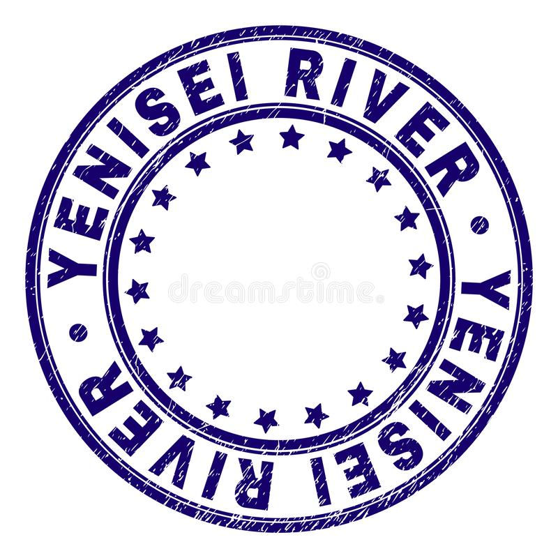 Grunge Textured YENISEI RIVER Round Stamp Seal. YENISEI RIVER stamp seal watermark with grunge texture. Designed with circles and stars. Blue vector rubber print vector illustration