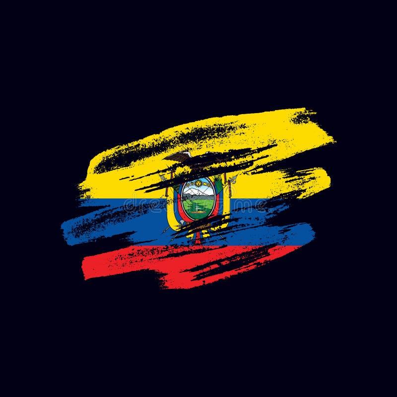 Grunge texturerad ecuadoriansk flagga royaltyfri illustrationer
