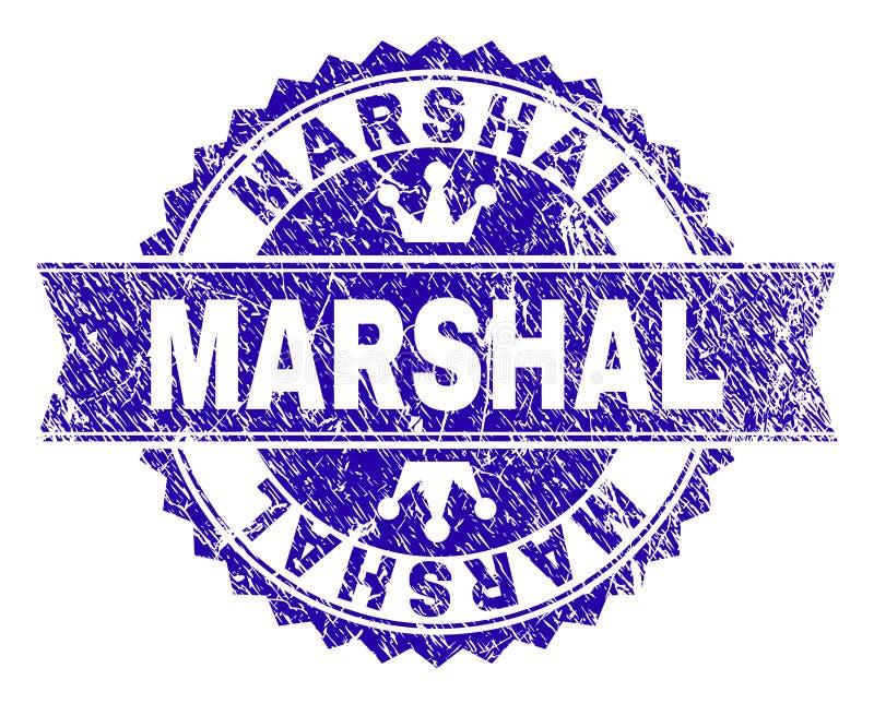 Grunge texturerad MARSKALK Stamp Seal med bandet stock illustrationer