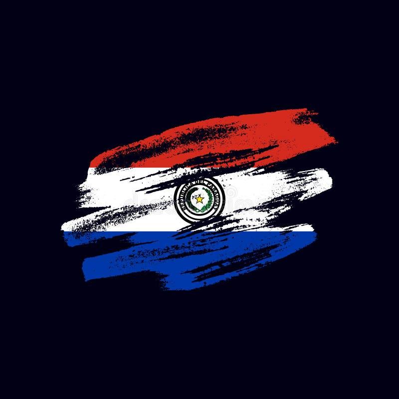 Grunge texturerad paraguayansk flagga royaltyfri fotografi