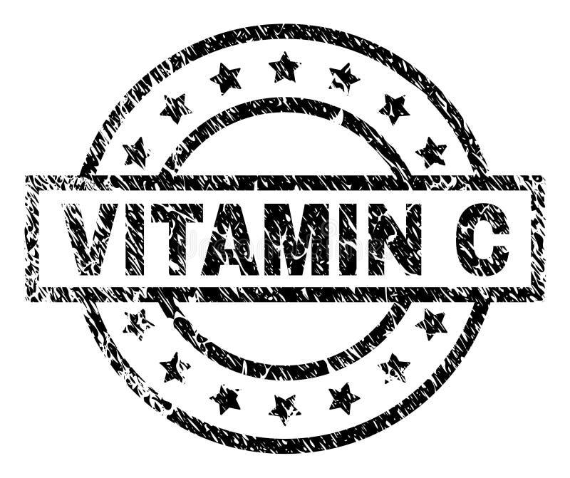 Grunge texturerad stämpelskyddsremsa för VITAMIN C stock illustrationer