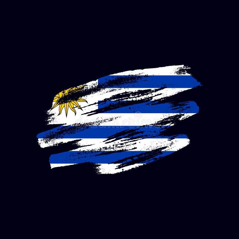 Grunge texturerad uruguayansk flagga fotografering för bildbyråer