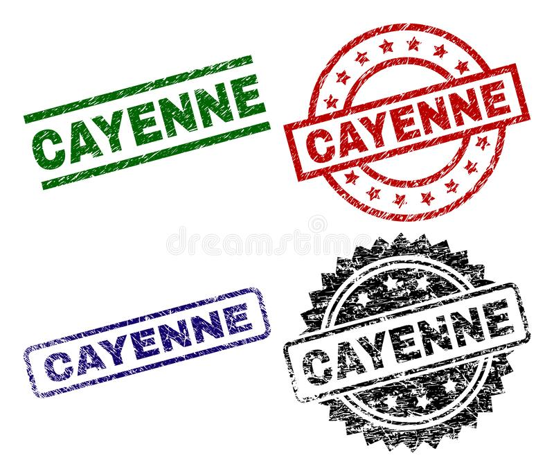 Grunge texturerade CAYENNE stämpelskyddsremsor royaltyfri illustrationer