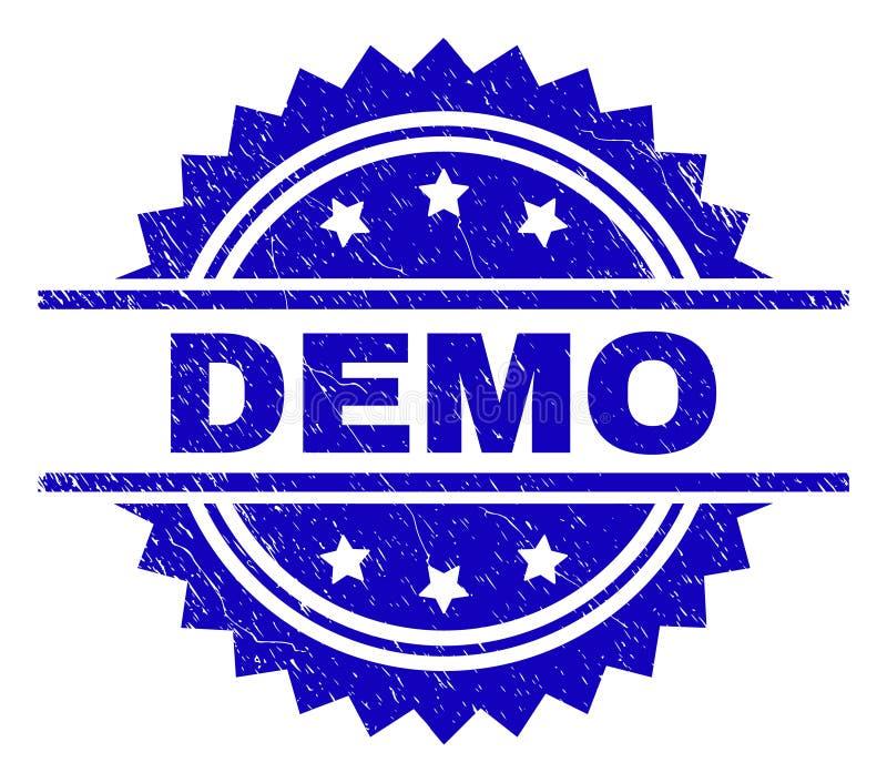 Grunge texturerade DEMO Stamp Seal stock illustrationer