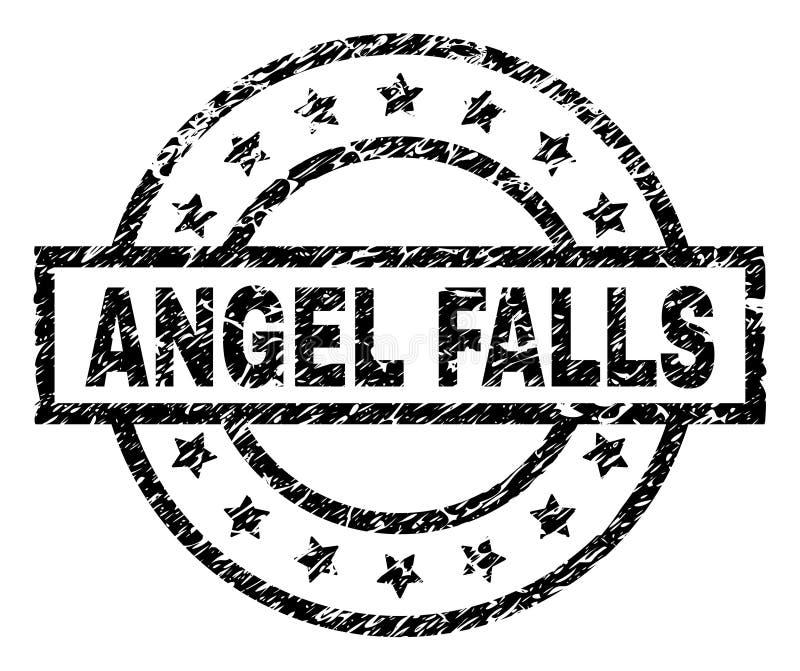 Grunge texturerade den ANGEL FALLS stämpelskyddsremsan vektor illustrationer
