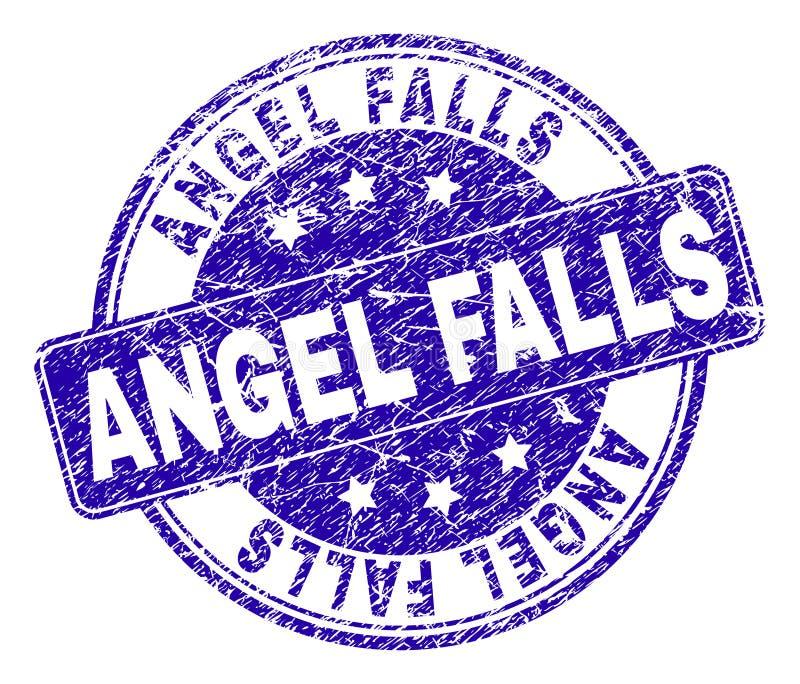 Grunge texturerade den ANGEL FALLS stämpelskyddsremsan stock illustrationer
