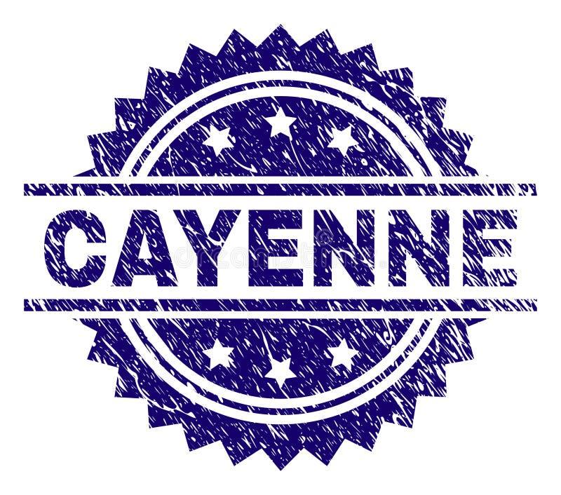Grunge texturerade den CAYENNE stämpelskyddsremsan vektor illustrationer