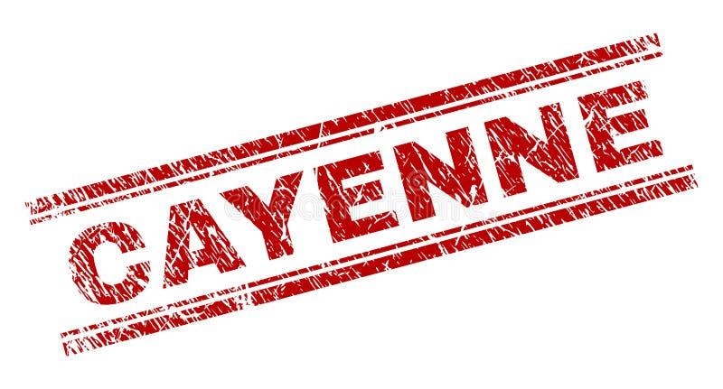 Grunge texturerade den CAYENNE stämpelskyddsremsan stock illustrationer
