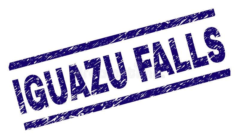 Grunge texturerade den IGUAZU FALLS stämpelskyddsremsan royaltyfri illustrationer