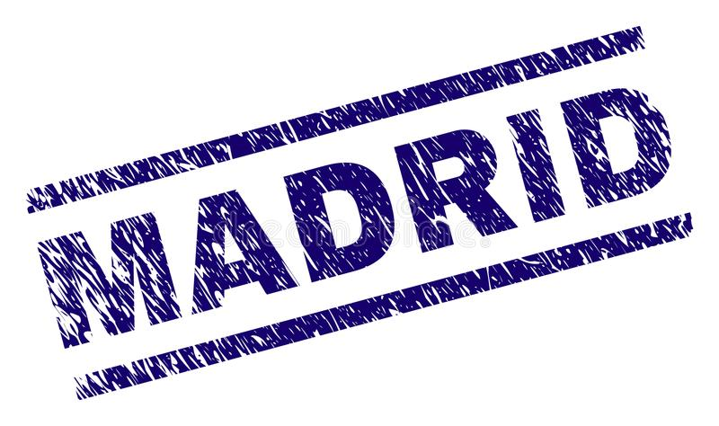 Grunge texturerade den MADRID stämpelskyddsremsan vektor illustrationer