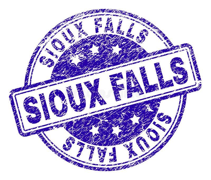 Grunge texturerade den SIOUX FALLS stämpelskyddsremsan stock illustrationer
