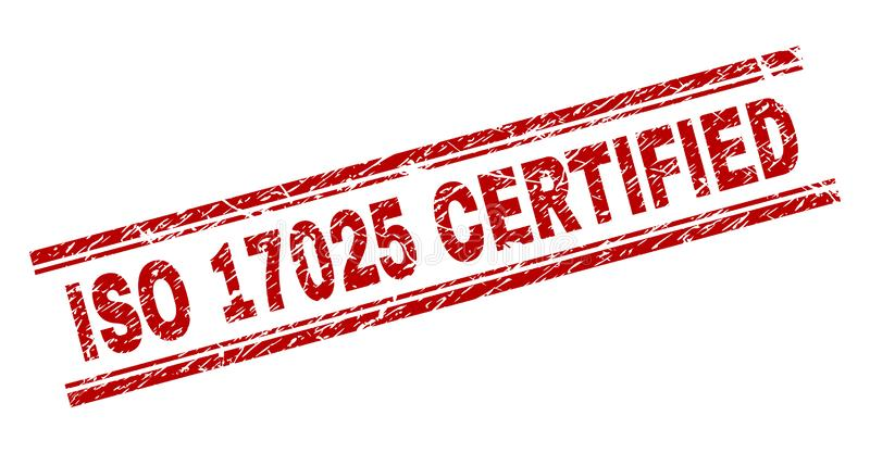 Grunge texturerade för AUKTORISERAD REVISORstämpeln för ISO 17025 skyddsremsan royaltyfri illustrationer